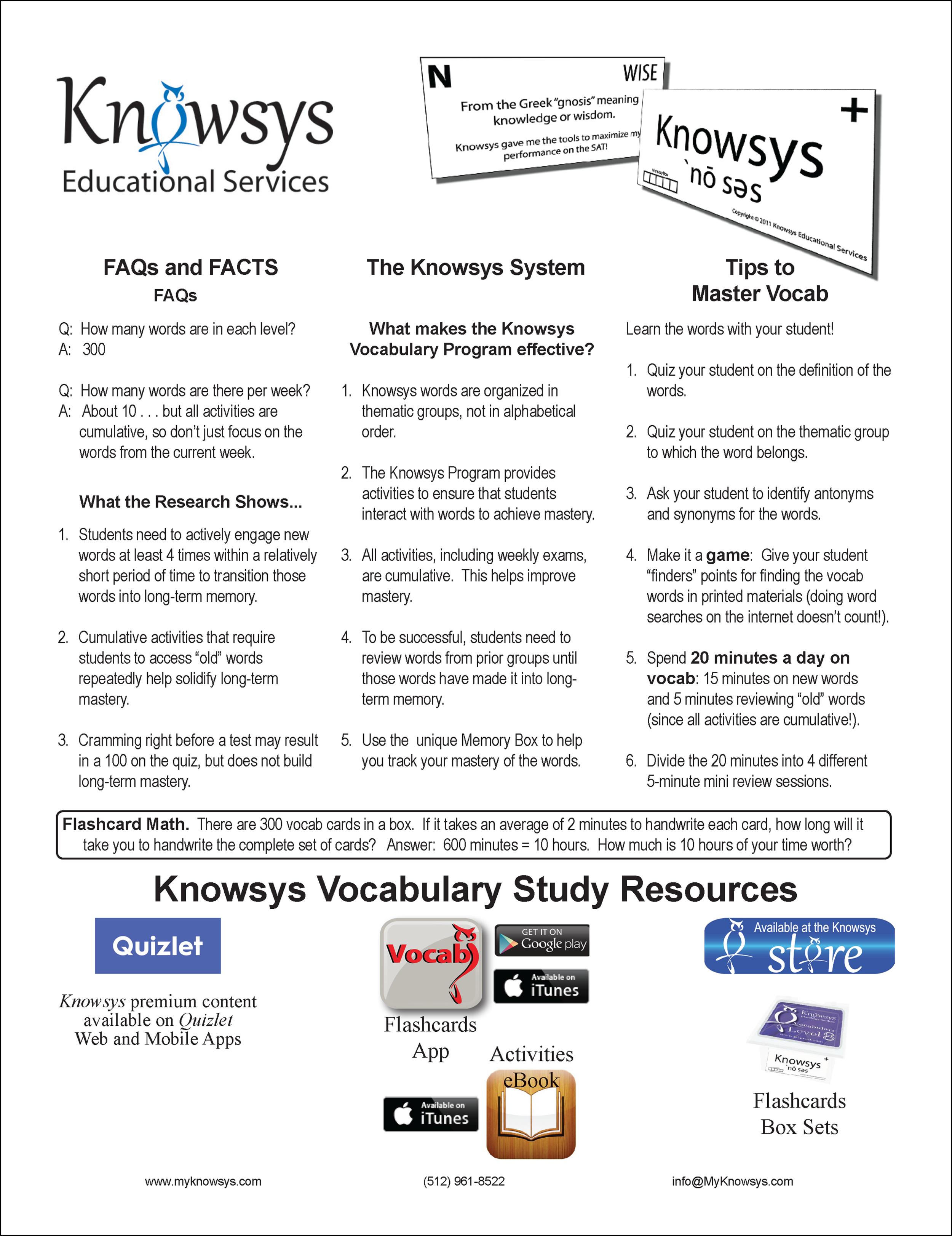 Vocab Handout for Parents & Students (English/Español)