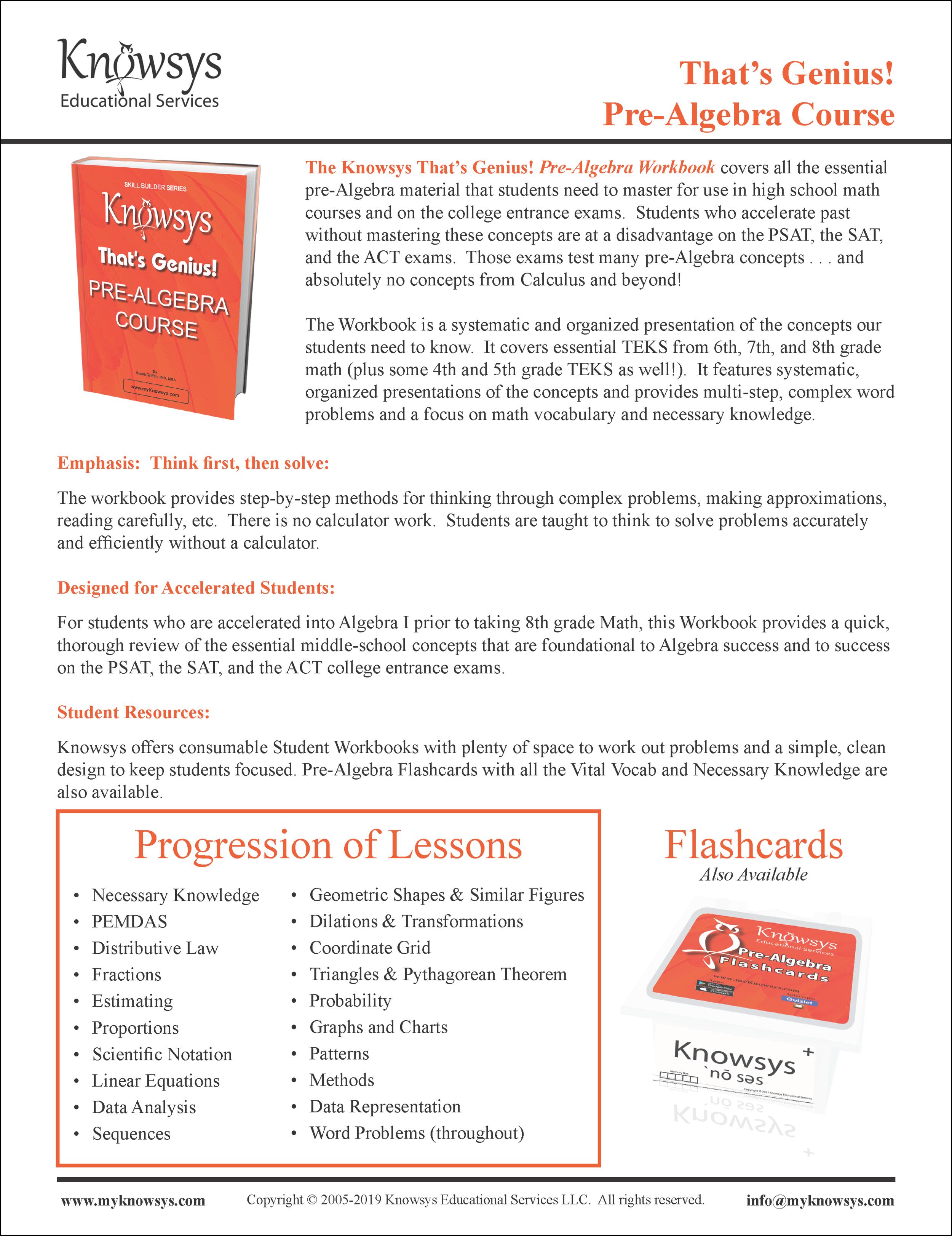Pre-Algebra Overview
