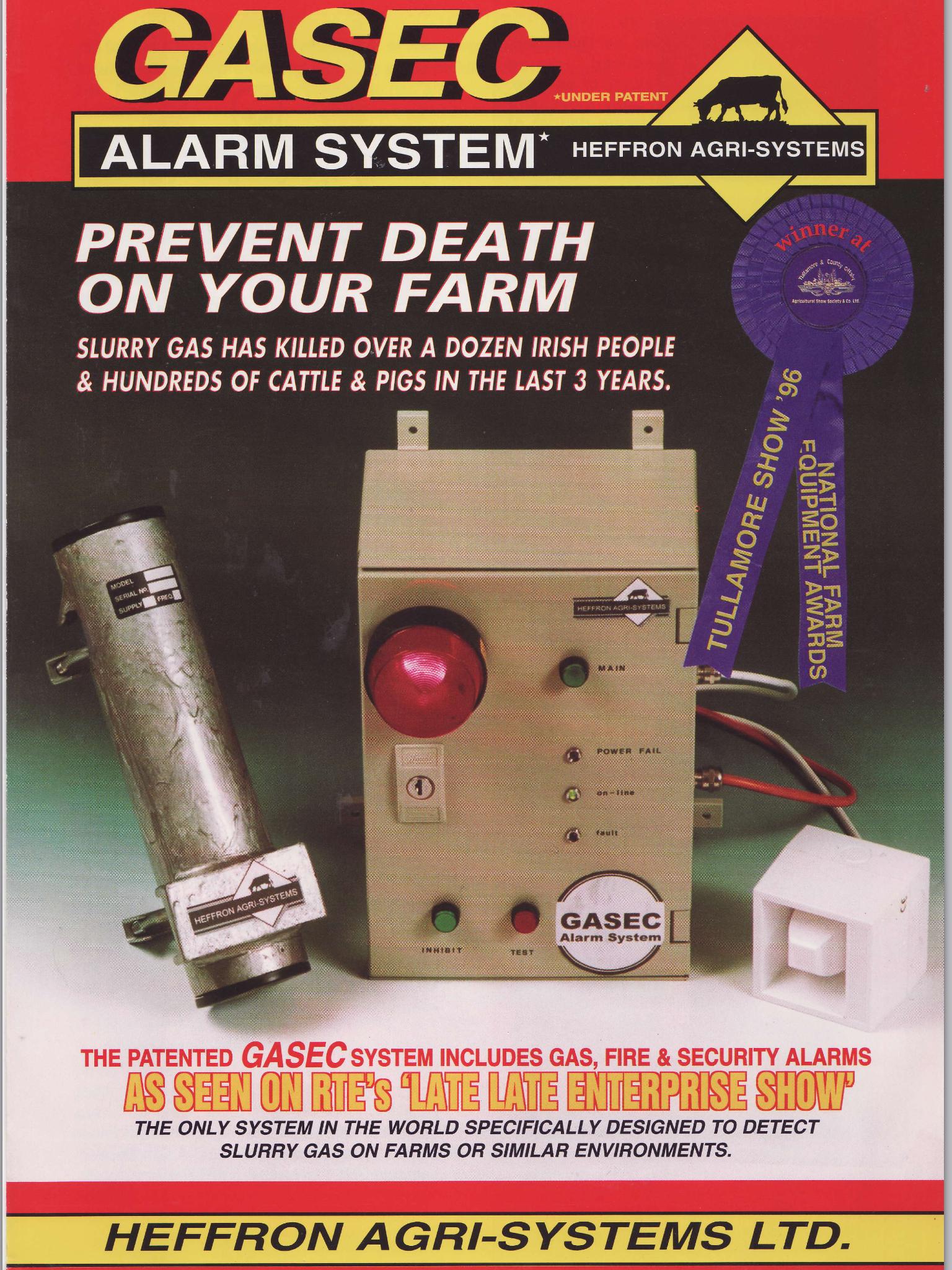 Award winning GASEC toxic gas alarm brochure for Farms
