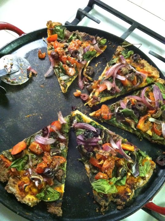 Lisa's pizza on gluten free dough (thin crust). Whole wheat dough will yield a thicker crust.