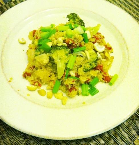 Quinoa with broccoli and cashews