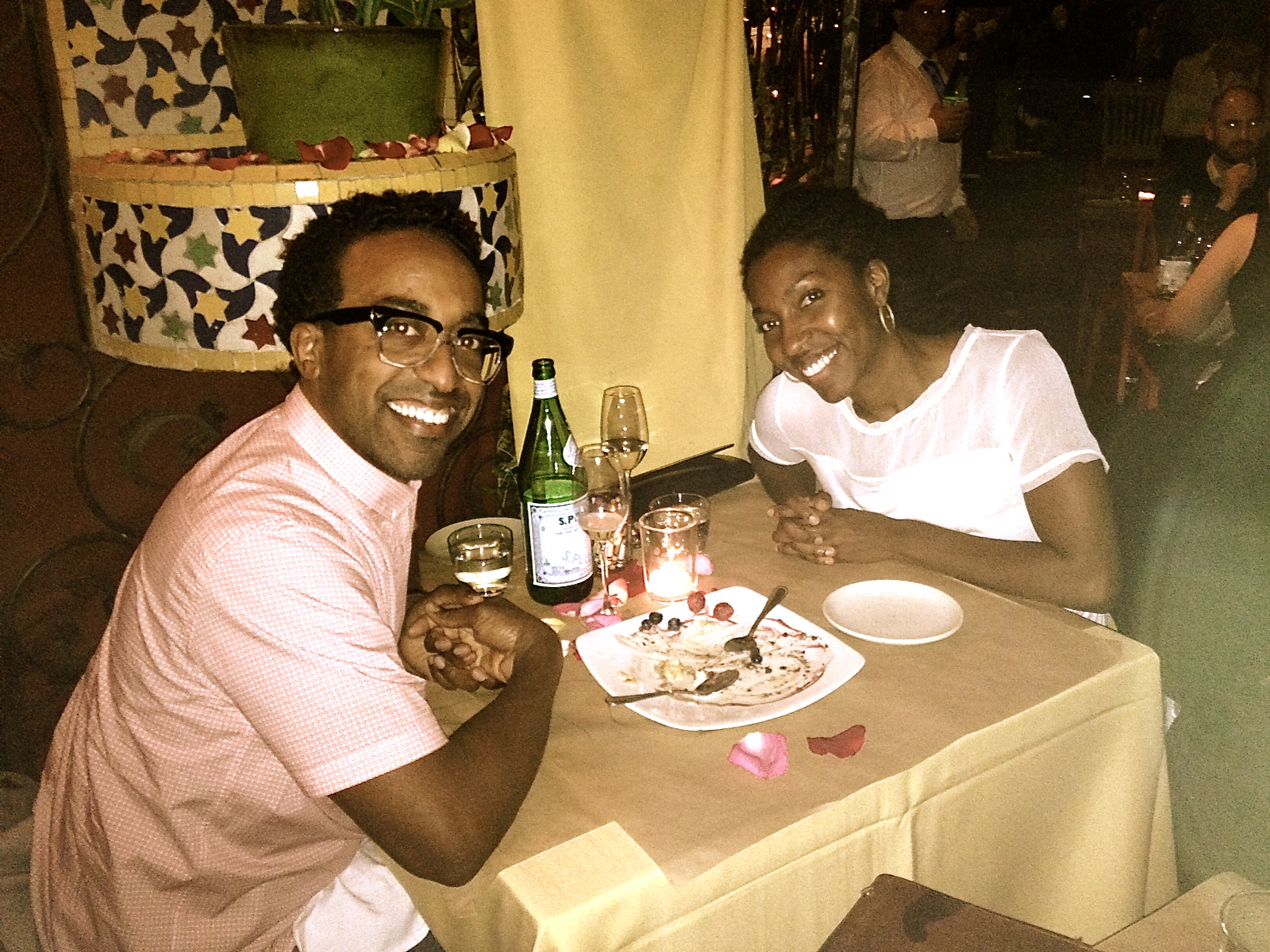 Eating fun food with the hubby.Yes, my husband looks like a male Ethiopian version of me. Don't worry, we're not related :)