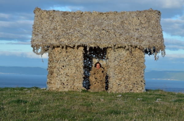 Tika Whare     on a New Zealand sheep farm. I spent a month building a structure out of bamboo from the farm and weaving wool from the surrounding sheep into silage netting. 2012