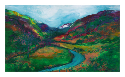 "Forest Holidays UK  Towards Llyn Dinas From Sygun - 120cm X 70cm, acrylic on canvas  ""The joy and spectacle of the hills and views, the river running through, all endless journeys to explore and enjoy."" Jan Gardner  'Live in each season as it passes: Breathe the air, drink the drink, taste the fruit, and resign yourself to the influences of each' Henry David Thoreau"