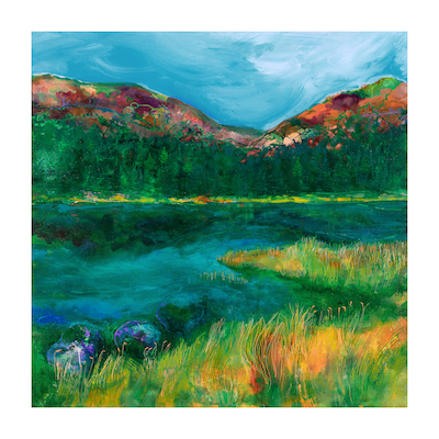 "Across Llyn Cwellyn - 60 cm sq  ""The peace and tranquillity, the ebb and flow of the water`s edge, endless dreaming of special times"" Jan Gardner"