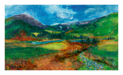 "From Rhyd Ddu towards Y Garn - 120cm X 70 cm  ""I stood at the foot of Snowdon to take in this view in and enjoyed the panoramic expanse, you can view it easily, on the way in to Beddgelert from Caernarfon, the walks and sights are there at every turn"" Jan Gardner"