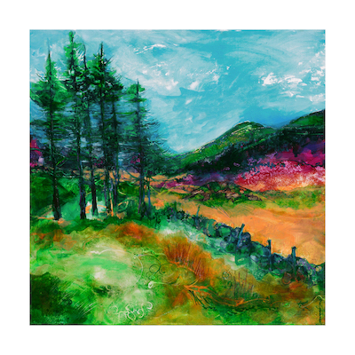 "On the road, Rhyd Ddu to Beddgelert - 50cm sq  ""Welcome to the beauty, welcome to your holidays"" Jan Gardner  ""To respect and rejoice in the force of life itself, and be present in all that one does""Phyl Garland."