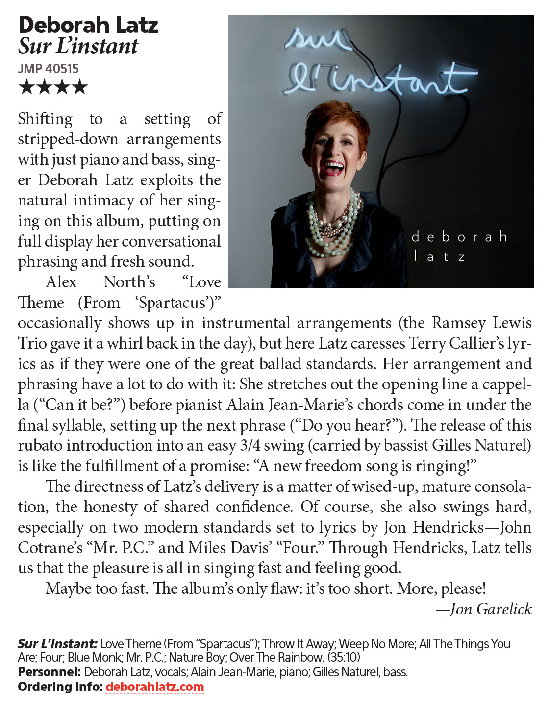 DOWNBEAT MAGAZINE REVIEW, 4 STARS - OCTOBER 2015 ISSUE