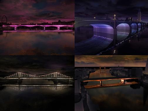Four computer generated images of Villareal's planned project.  (Clockwise from top left: Waterloo Bridge, Westminster Bridge, Chelsea Bridge, and London Bridge)  Photograph: © Leo Villareal and Lifschutz Davidson Sandilands