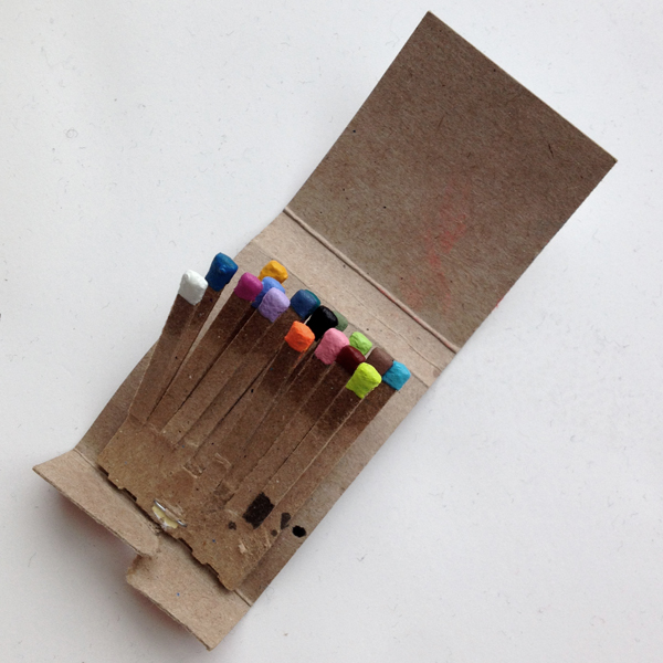 a palette of painted matches.