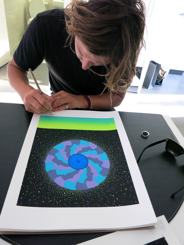 new limited edition 7 colour screenprint of 'midnight mind spiral' through freshly printed gallery in new york. click here please.