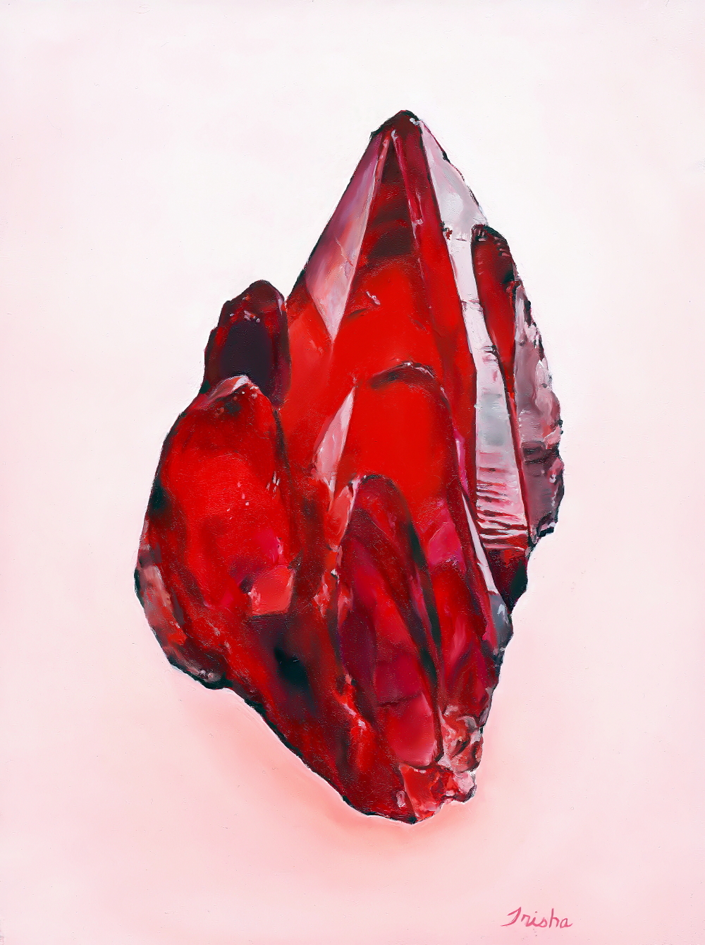 Rhodochrosite, oil on board, Trisha Thompson Adams 2016