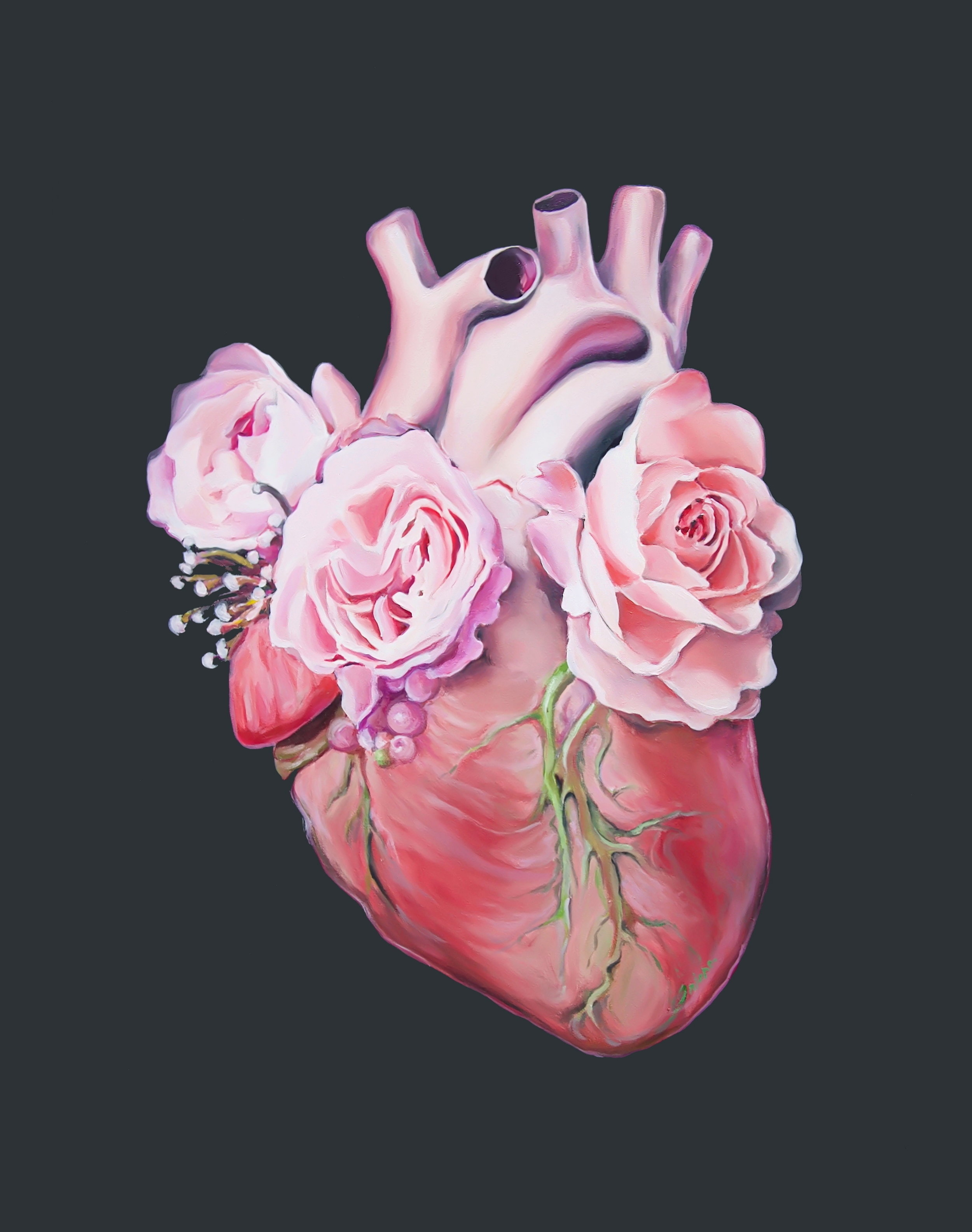 Floral Heart II (ITEM NO: 016)  Print Size: 8x10 inches  $12.50 Wholesale at 50% off  $25 RRP
