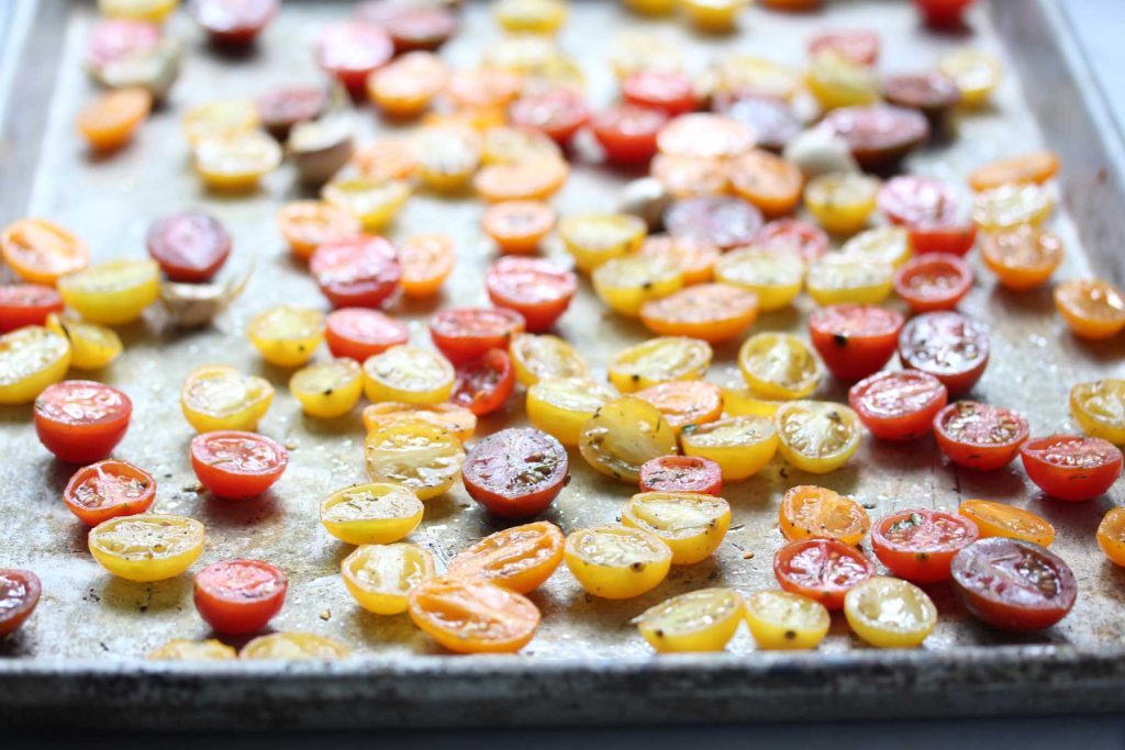 Mixed cherry tomatoes, ready for the oven