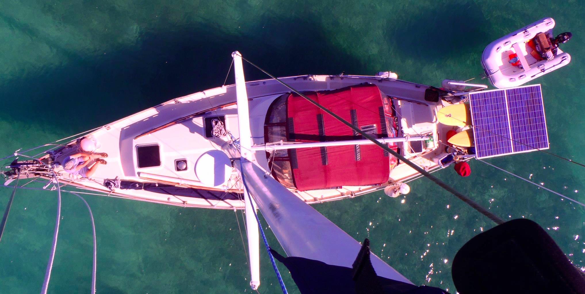 Solar Panels on DDS's Esprit sailboat