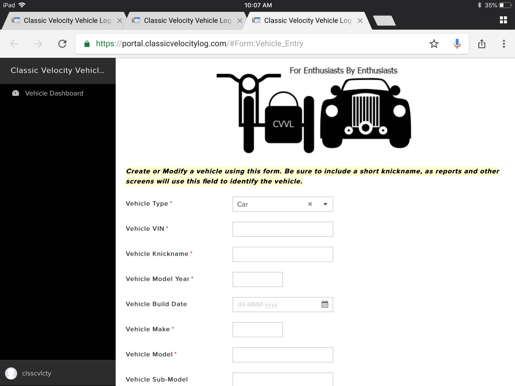 You can get pretty detailed if you want, or you can just enter the minimum required fields...