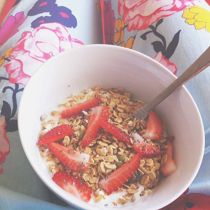 Gluten free yoghurt, muesli & strawberries topped with a sprinkle of chia seeds.