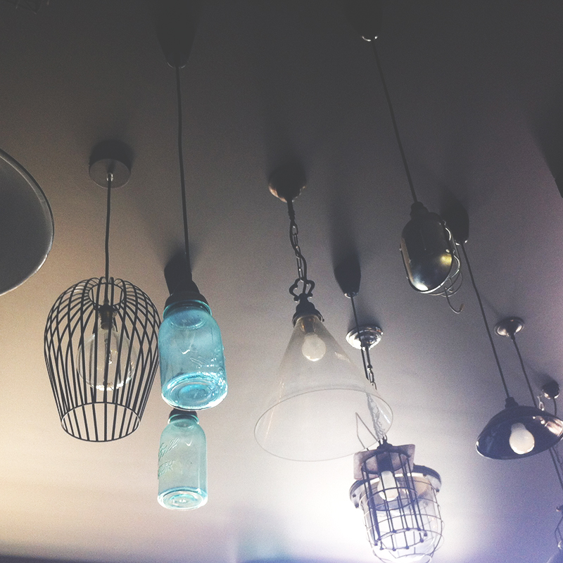 Lights at Mockingbird made from jars.. so quirky.. recycling at its best!