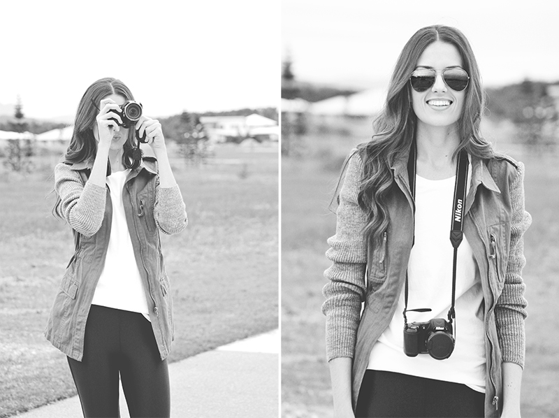 This is me wearing my favorite jacket from Elm Knitwear and my  Nikon Coolpix L820 . These images shot by Kimberly Lauren Creative.