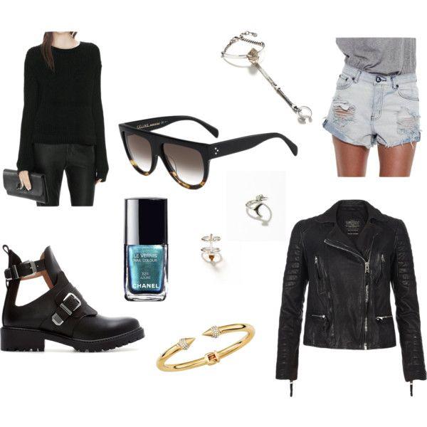sweater: acne, sunglasses: céline, boots: zara, rings and bracelet: maniamania, leather jacket: allsaints, shorts: oneteaspoon, nailpolish: chanel, bangle: vitafede