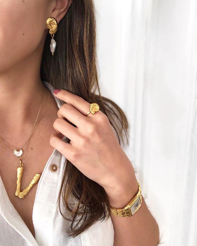 || It's all in the details...✨|| #blingedout #lovemygoldjewellery #allabouttheshells . . . . . . . . . #jewelry #jewellerylover #shelljewelry #cartier #cartieramulette #celine #oldceline #celinenecklace #potd #jewellery #jewelsofinstagram #jewels