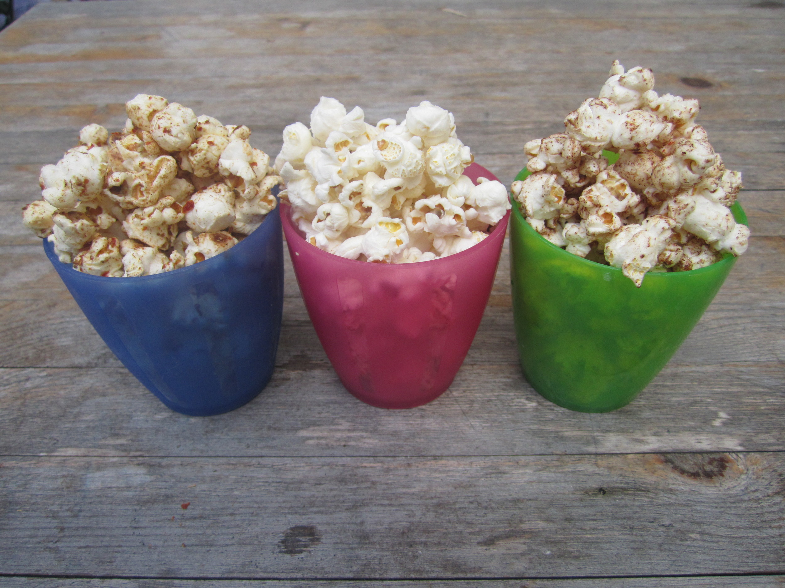 Pop pop popcorn - 3 flavours, smoked paprika & cumin, salt & sarsons + buttered, maple.cinnamon & ginger.