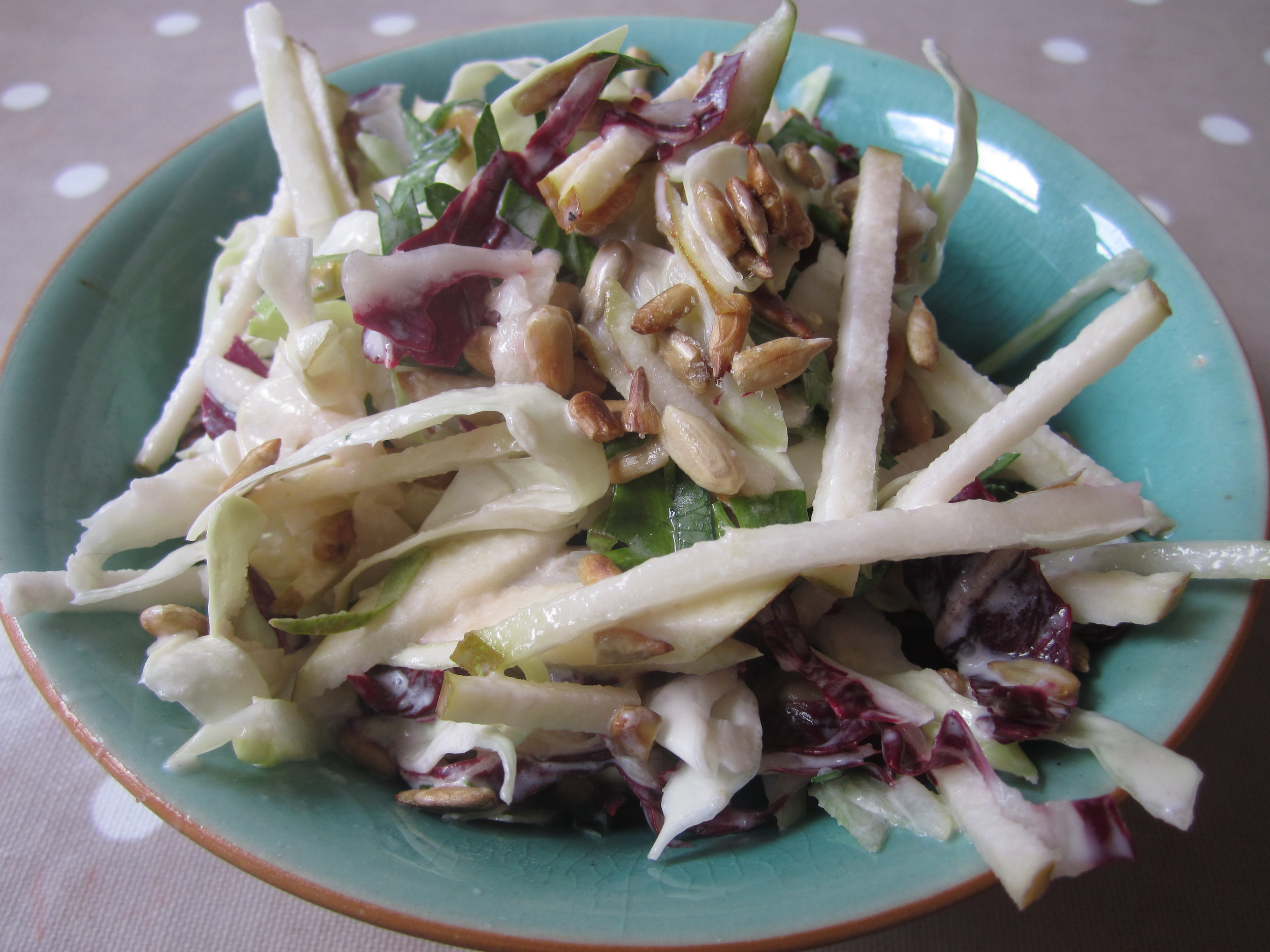 Coleslaw, without the gunk. A perky mix of pears and more.