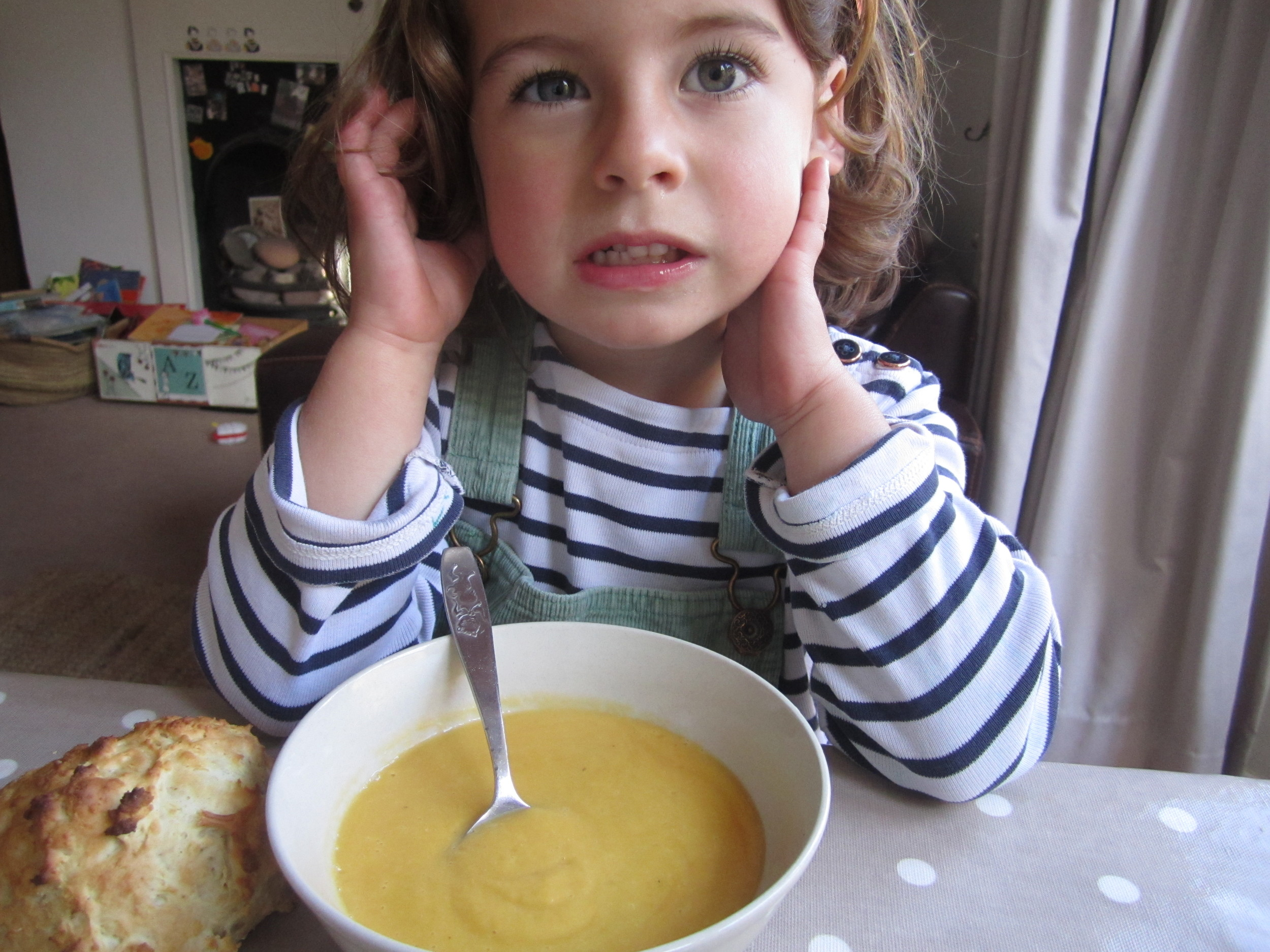 Ivy home from play school for lunch of pumpkin soup and a ginger beerscone