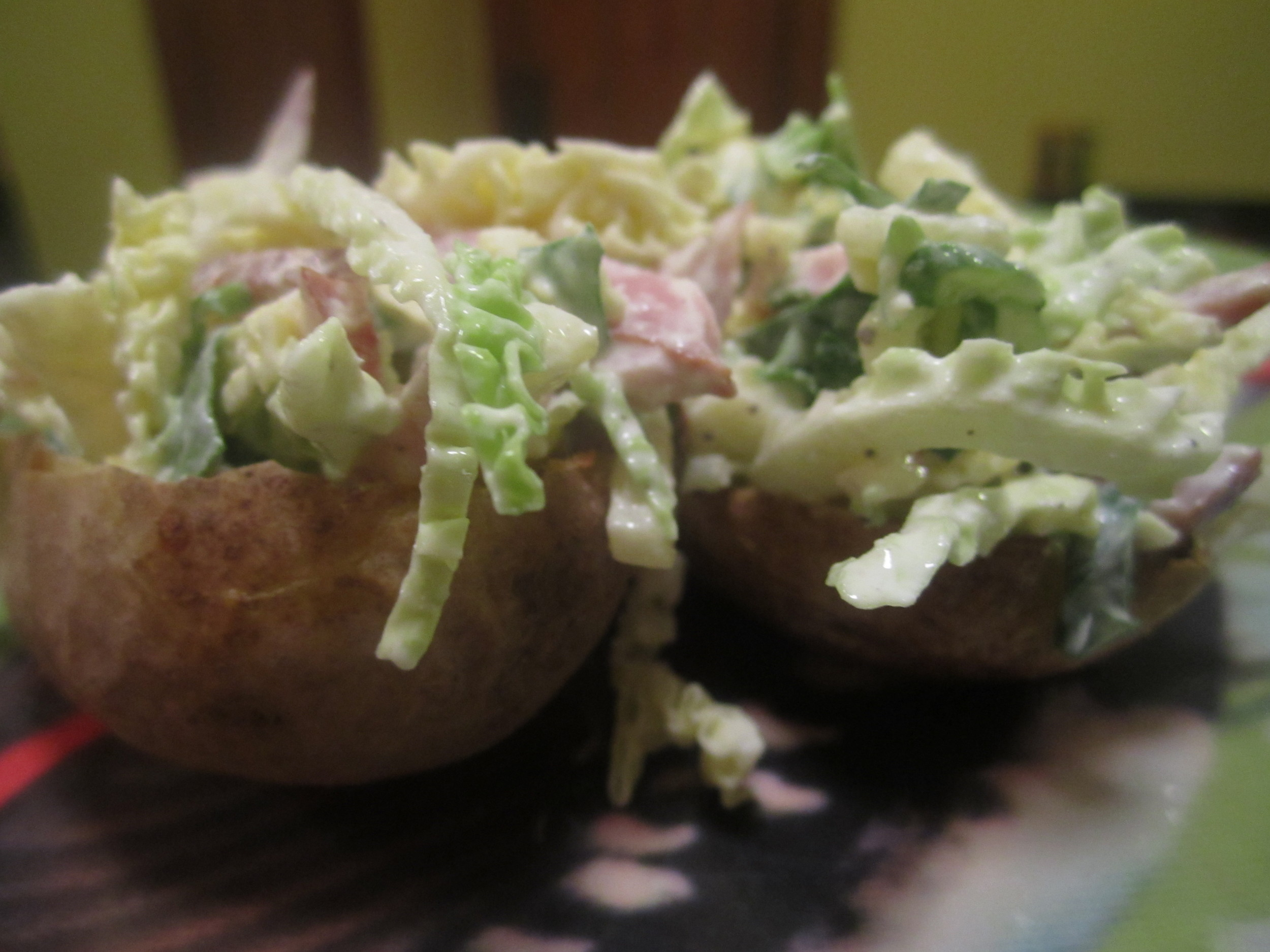 Punchy apple and ham slaw for potato skins