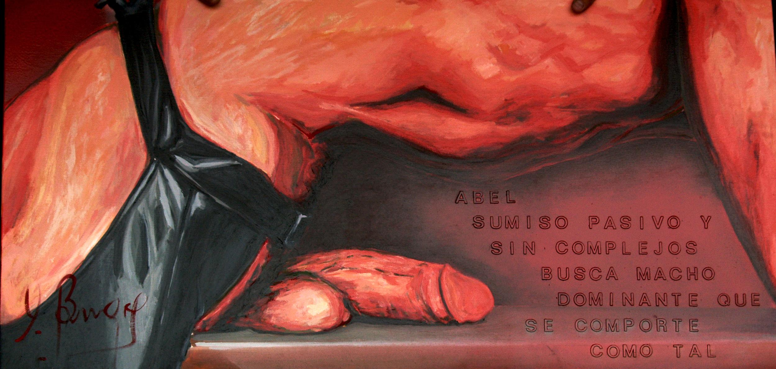 Óleo sobre lienzo y collage  1 x 0,65 m