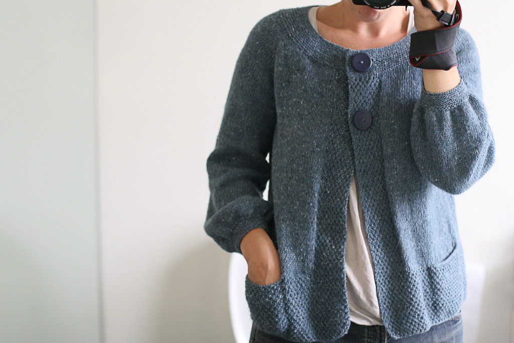 I don't wear swing cardigans! Pattern is Olivia by Kim Hargreaves. Knitting by me.