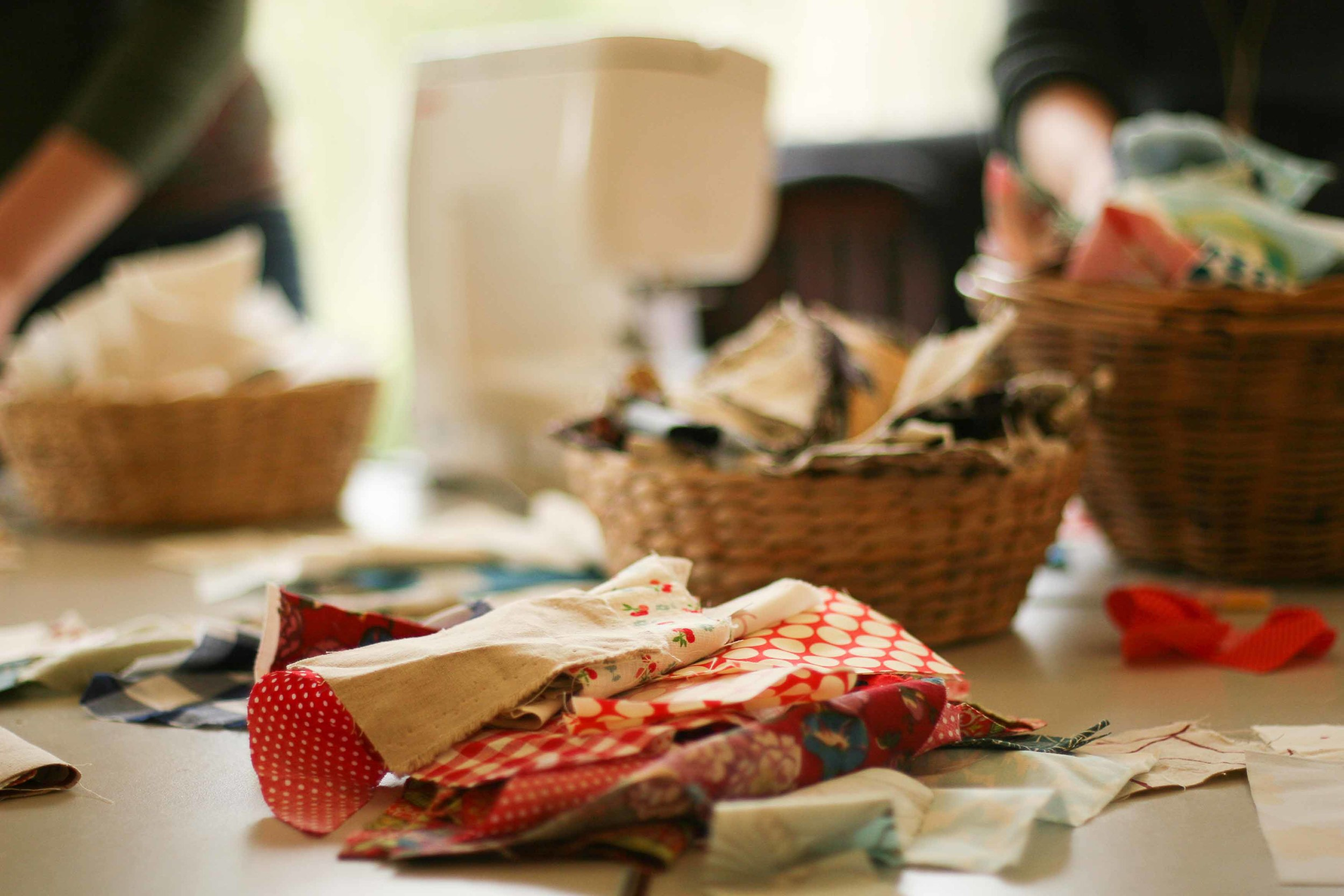 Leslie brought baskets of scraps to use - so much joy!