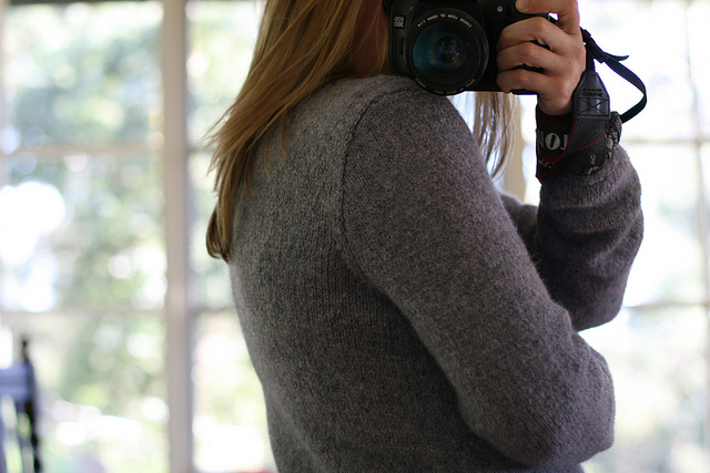 Check out the genius shoulder shaping by Amy Christoffers' Bailey pattern. Knitting by me.