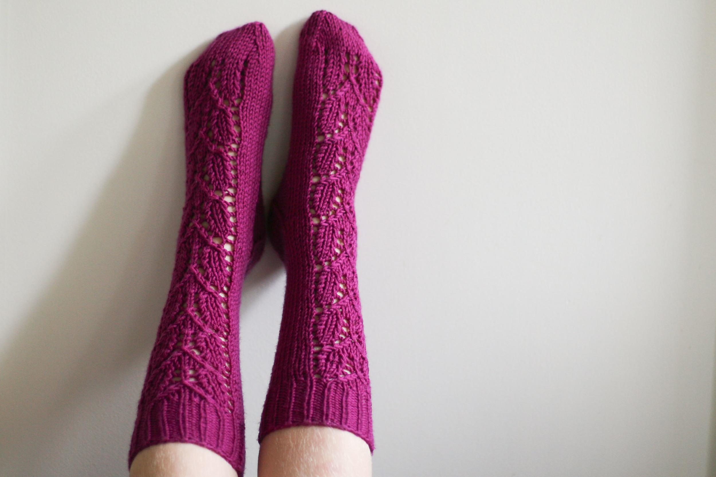 Handmade gifting in action - my girl feeling the love in her new birthday socks!
