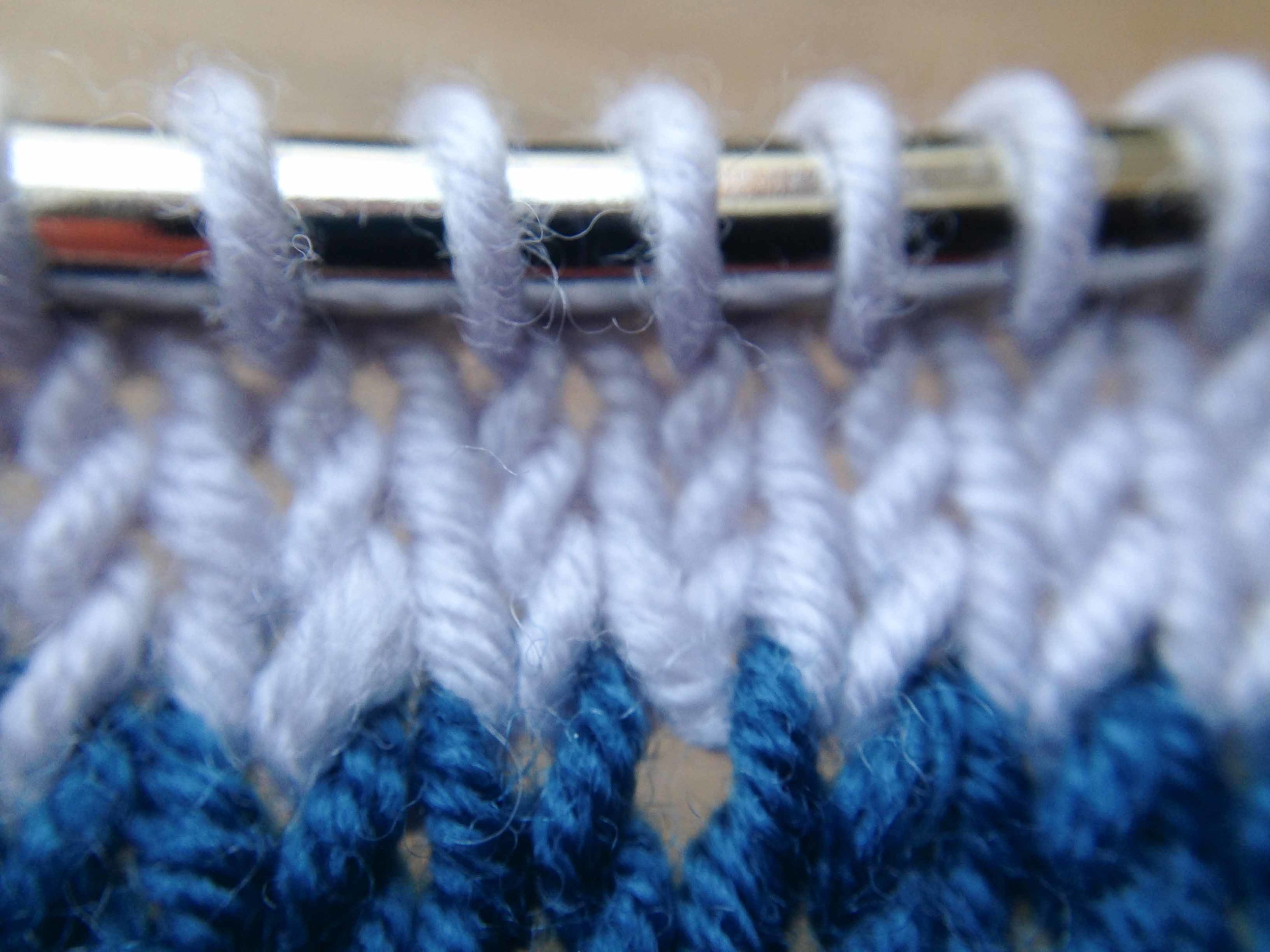 And this is what it looks like if you have an increase rows and then knit three rows.