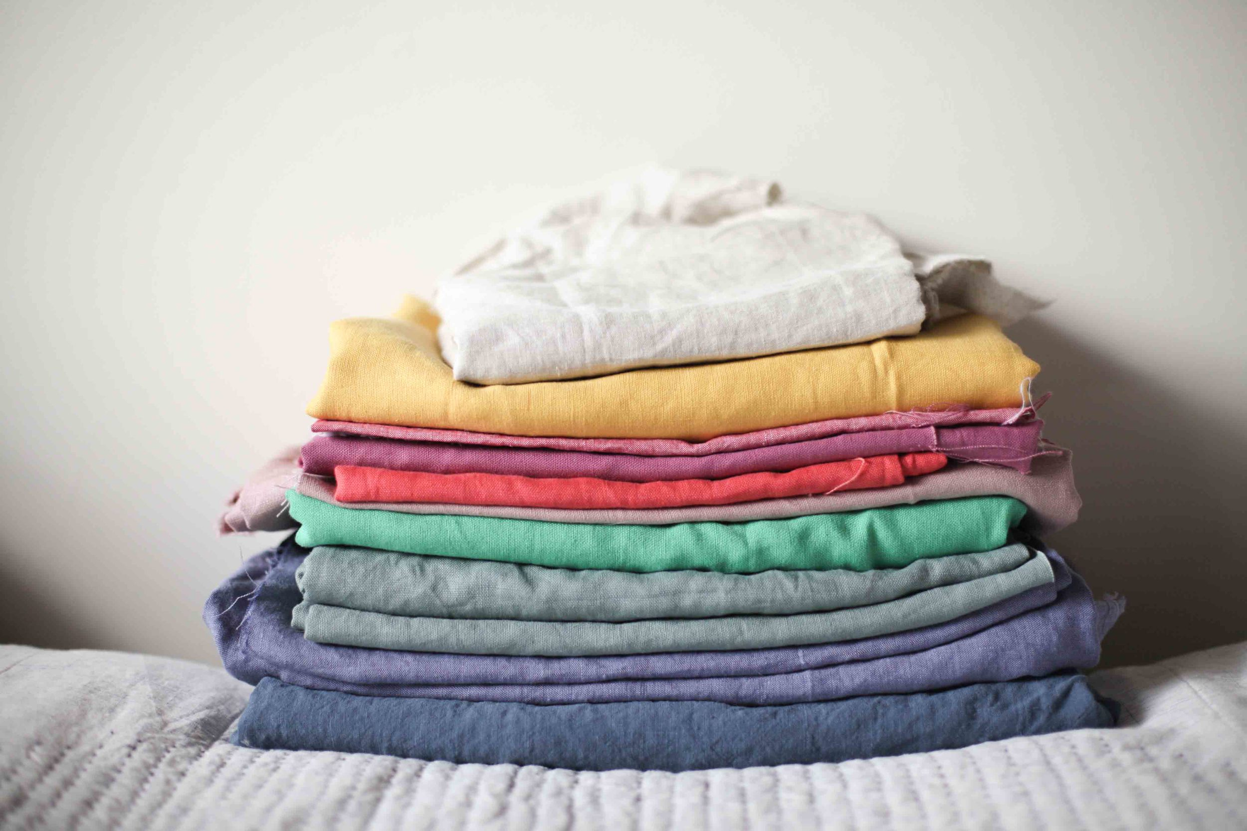 My stack of rainbow linen. Including 2m of yellow. I worked out that this stack alone is worth over $300.