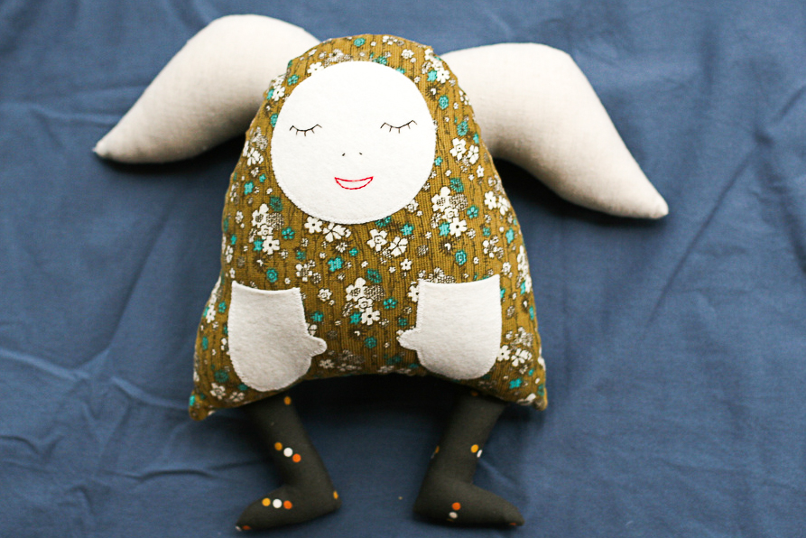A softie I made for Mirabel many years ago. She was made from cord and super soft. Your softie doesn't need to be perfect - just cuddly.