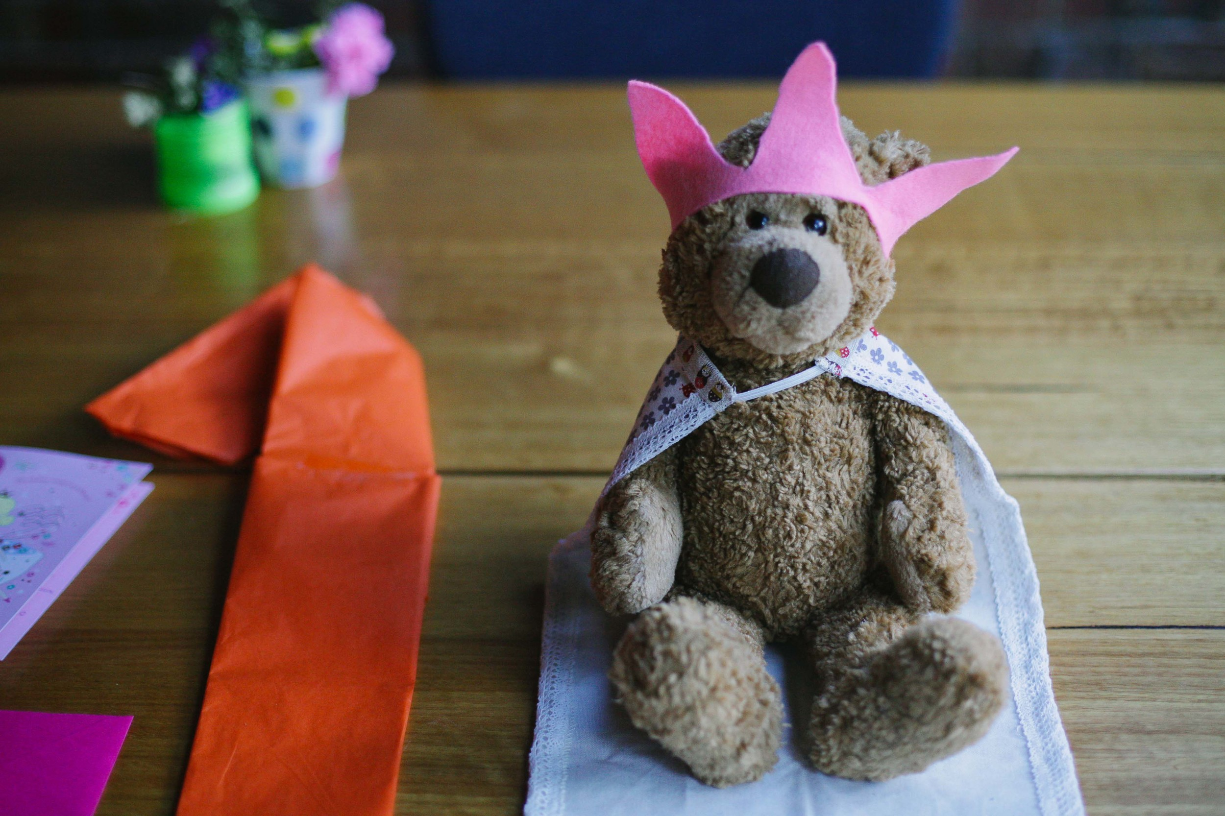 Middle kid made the cape and crown for the little sister's teddy for her birthday.