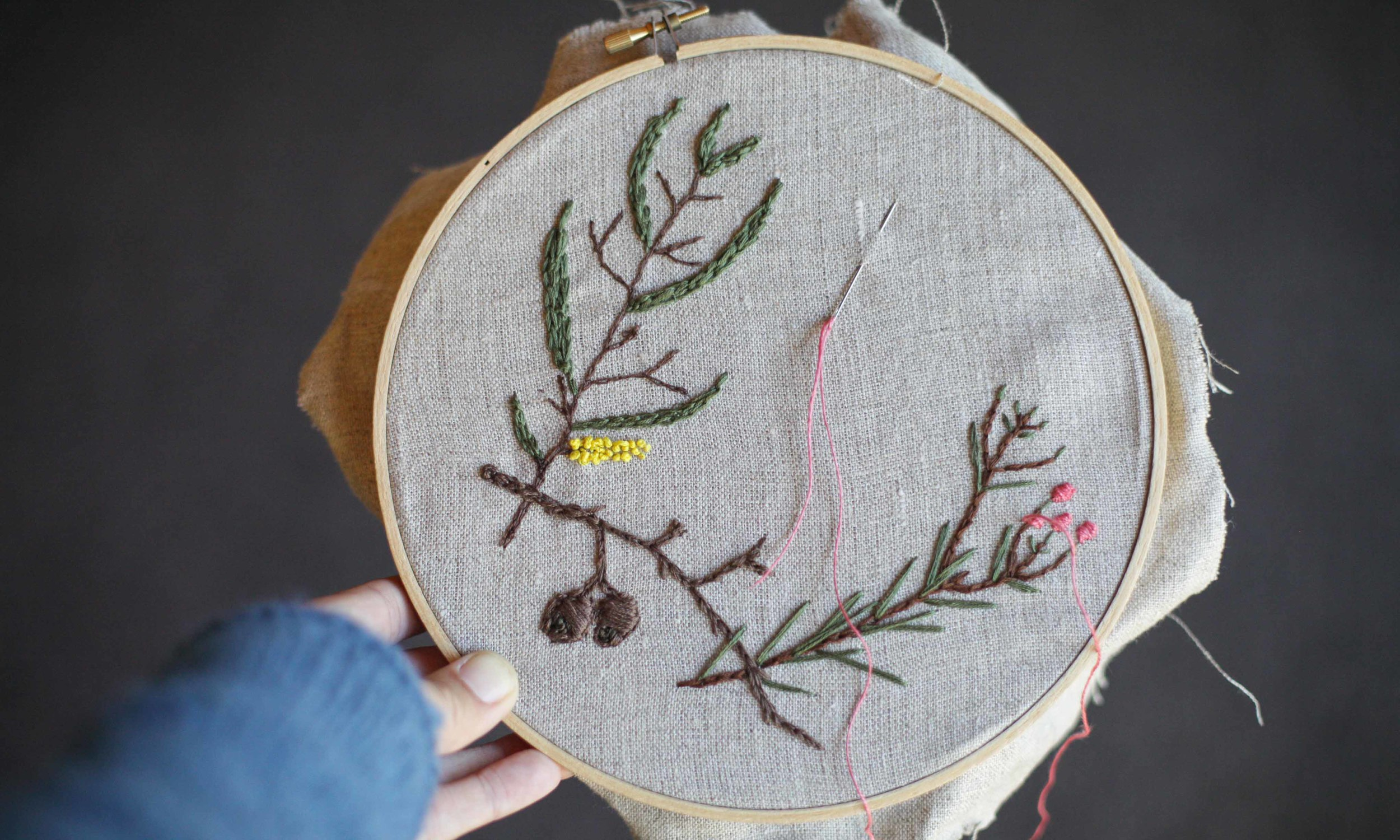 Alichia joined us as a participant at last year's retreat and this is the gorgeous work she created in Melissa's  Embroidery From The Natural World  class.