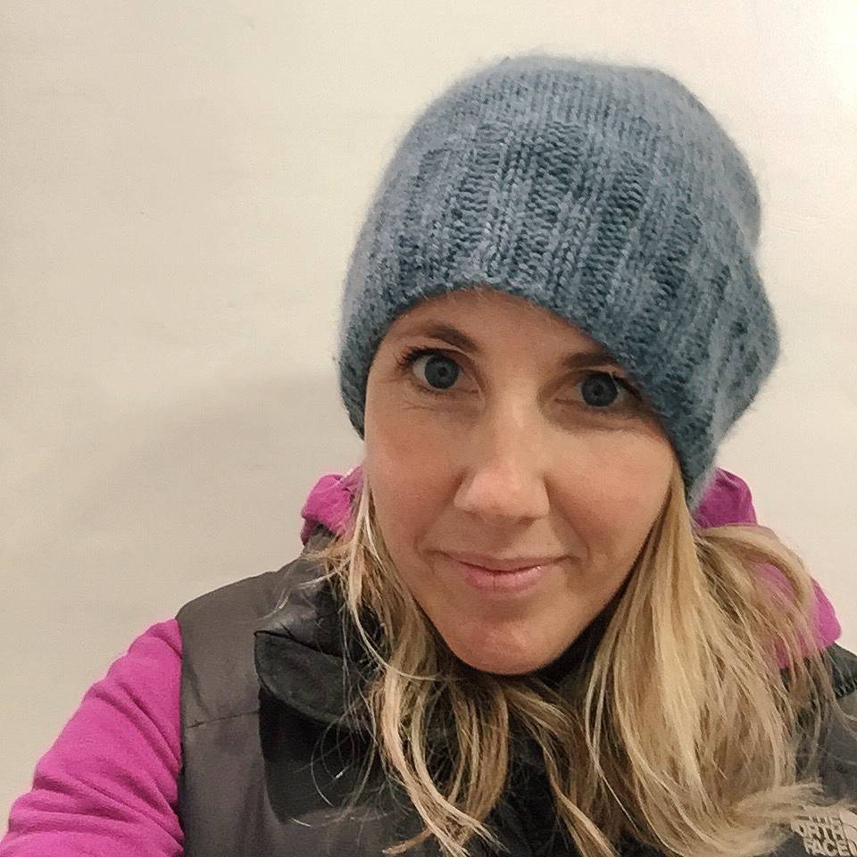 """My oldest slouchiest version that I wear running which has a 3.5"""" ribbed section and is a smidge longer. It is made from Rowan Kid Classic on 5mm needles."""