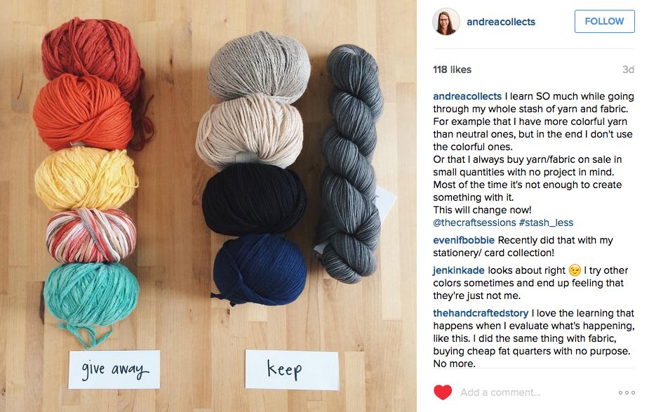 Instagram Post by  @andreacollects  of  Create Share Love  where she talks about how she buys in a way that doesn't work for her making. Such a fabulous thing to understand.