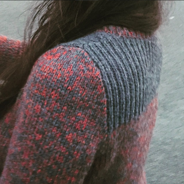 Photo by  @lunarknits  of a sweater made from stash.