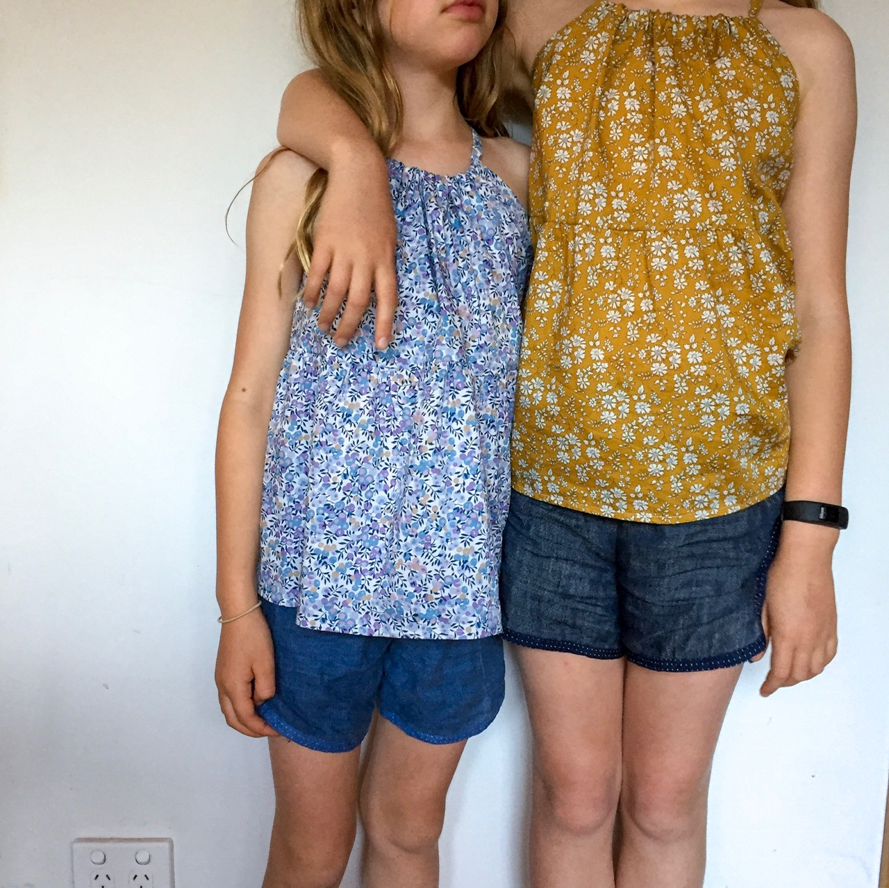 Their xmas tops with some of their new summer shorts.