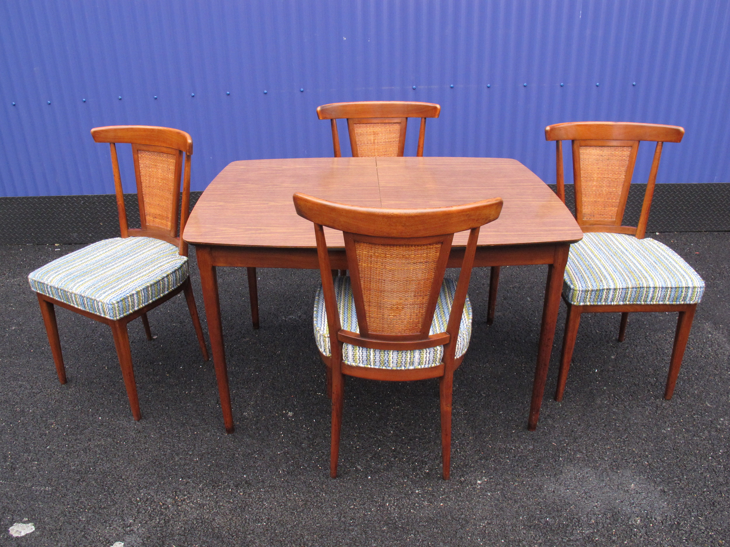 MID CENTURY TABLE & 4 CANE BACK CHAIRS