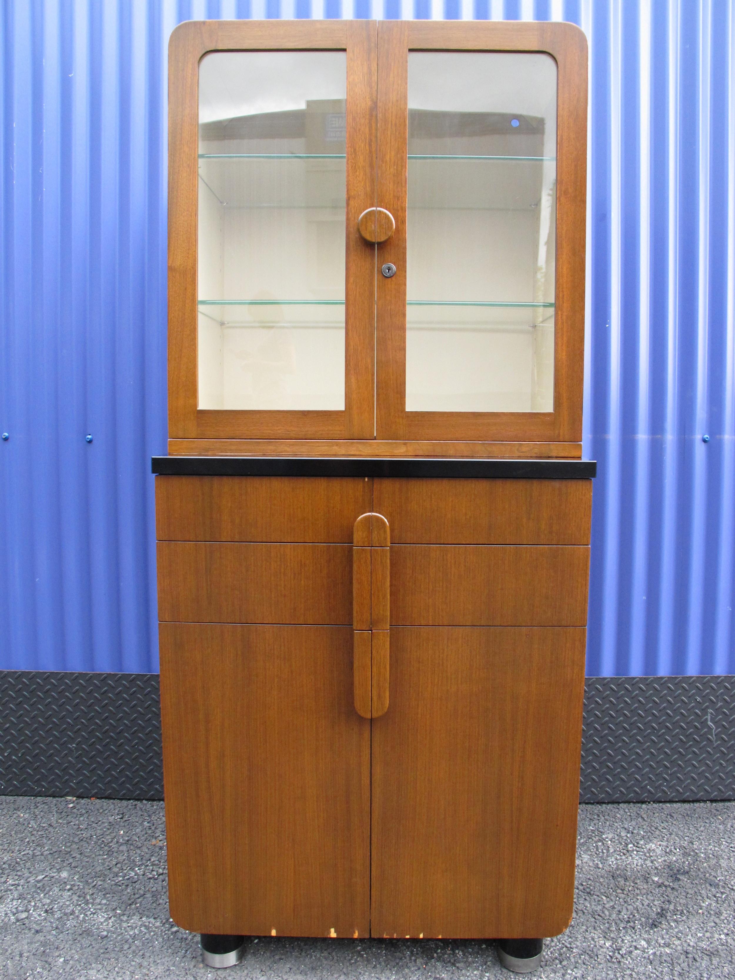DECO HAMILTON GLASS-DOORED CABINET