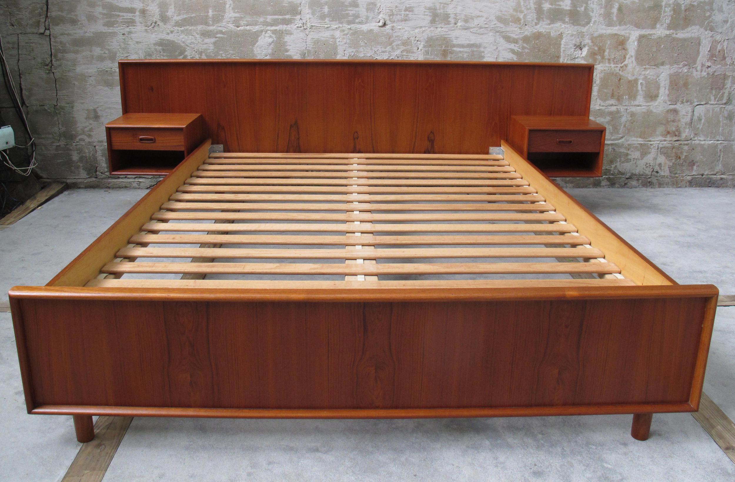DANISH TEAK BED FRAME WITH FLOATING NIGHTSTANDS