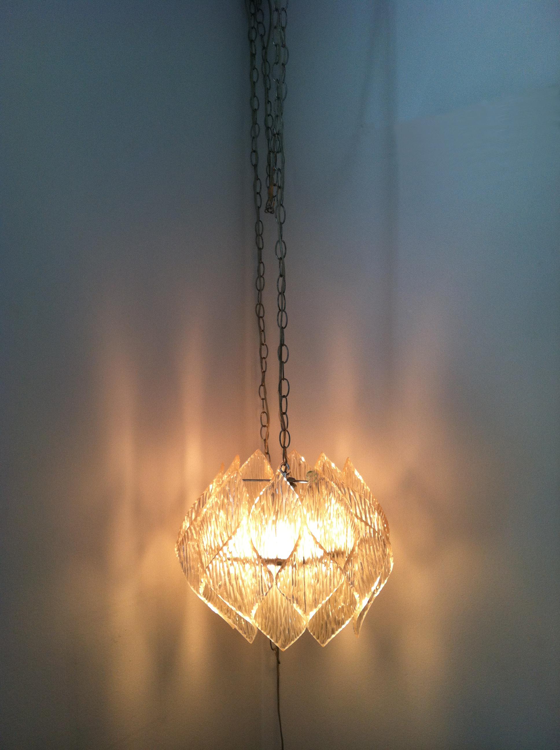 MID CENTURY LUCITE HANGING LAMP