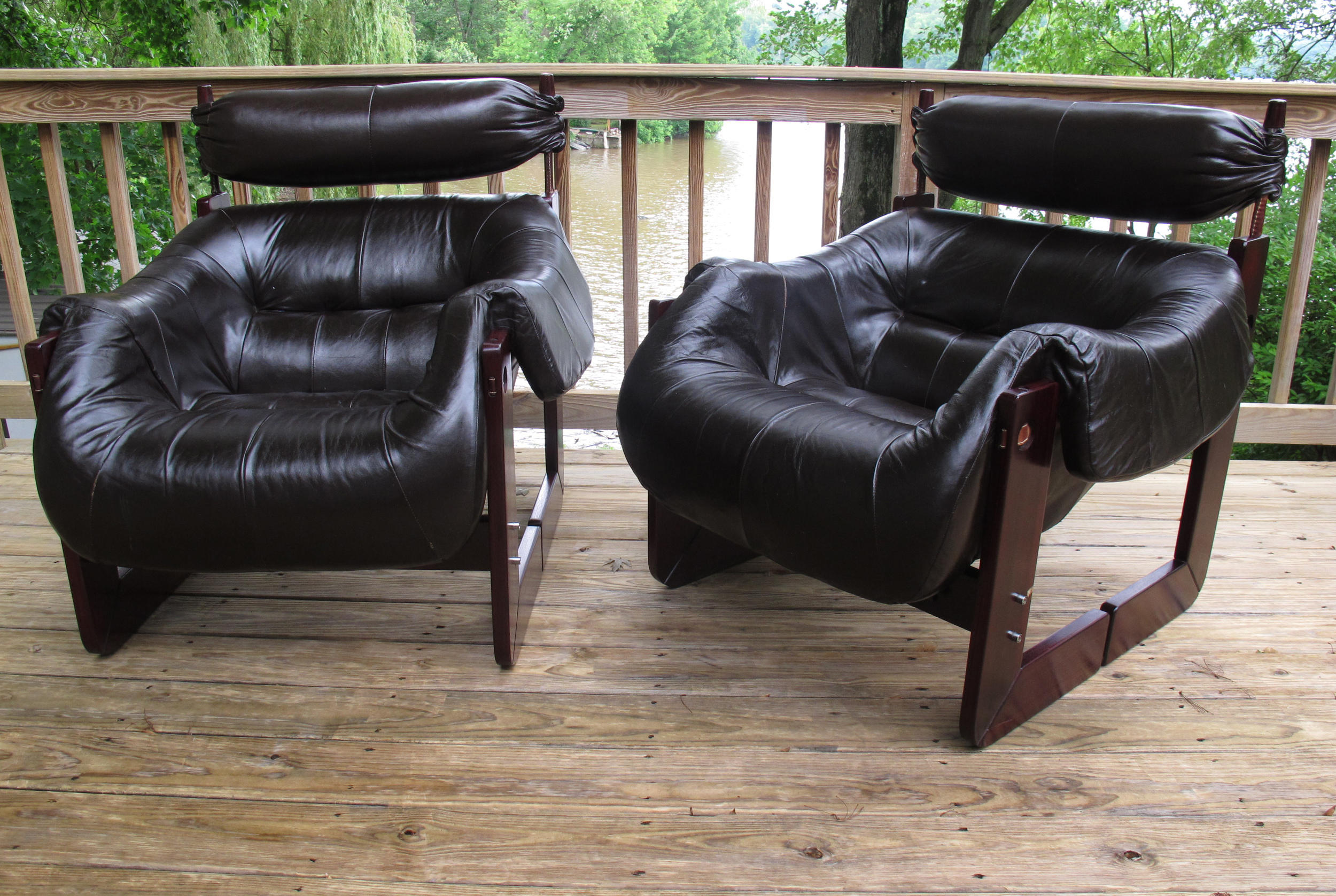 PERCIVAL LAFER LEATHER & ROSEWOOD ARMCHAIRS