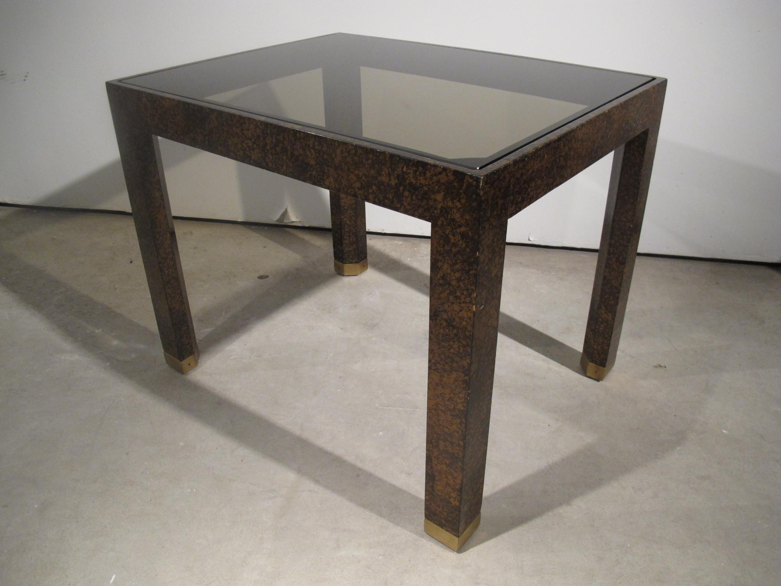 HENREDON TORTOISE SHELL & GLASS SIDE TABLE