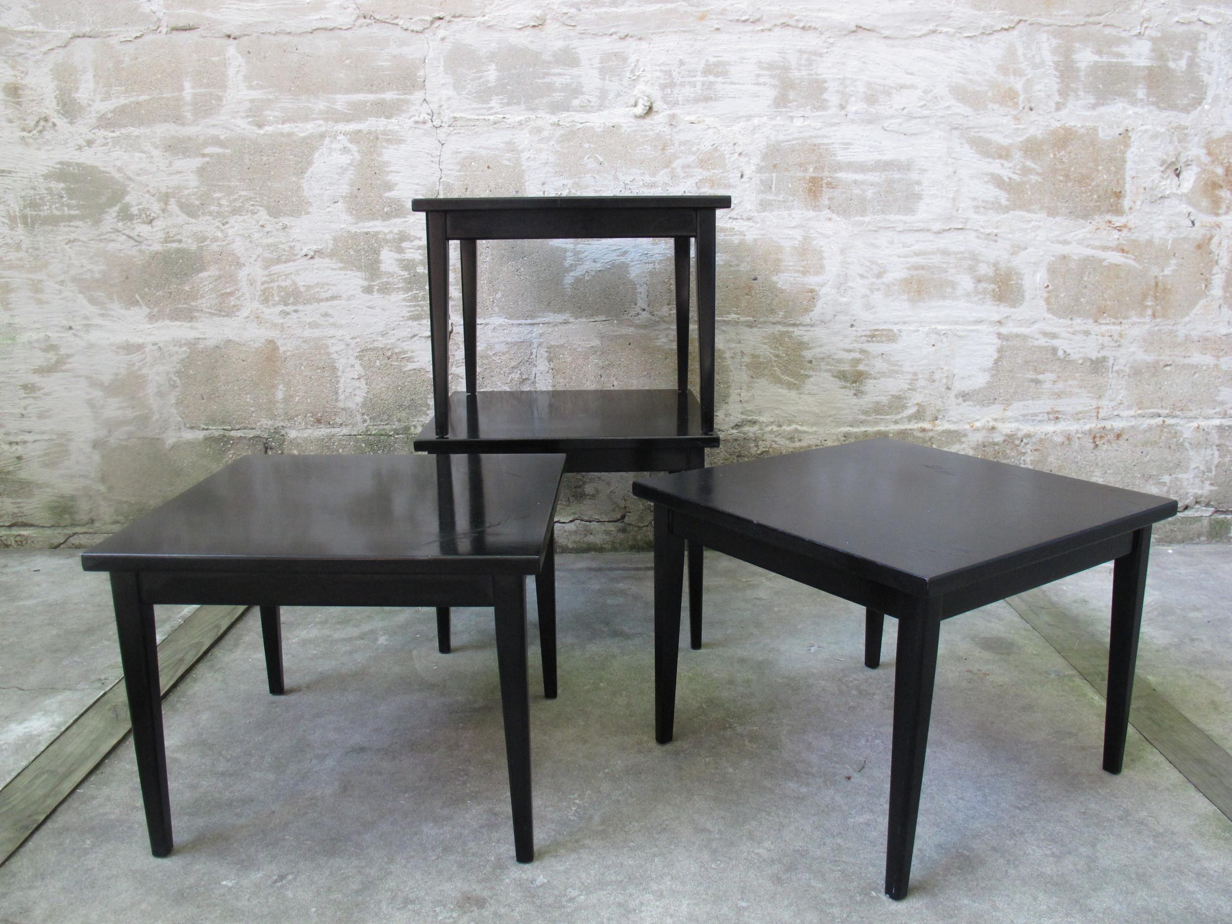 MID CENTURY EBONY STACKING TABLES